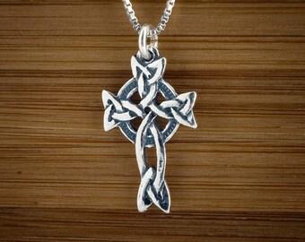 STERLING SILVER Celtic Cross Charm or Earrings - Chain Optional