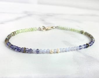 Delicate gemstone Bracelet - Pastel Ombré gemstones. Tiny faceted Chalcedony, Prehnite, Iolite, Labradorite & Pearls