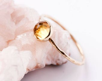 Rose cut citrine 14k gold ring, yellow gold, rose gold, stacking ring, November birthstone, graduation gift, mothers birthstone ring, yellow