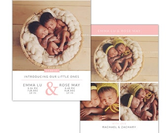 INSTANT DOWNLOAD - PSD Twins Birth announcement template -  e1197