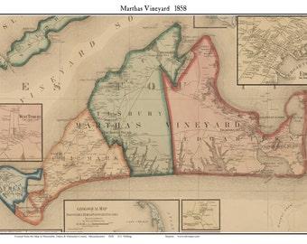 Martha's Vineyard & Edgartown 1858 Map - Reprint Massachusetts