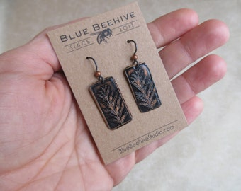 EBX03-06: Alethopteris lonchitica, coal formation ferns, science jewelry, #SciArt, plant earrings, etched leaves, botanist, gardener