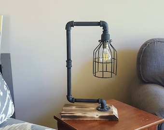 Industrial table lamp - Steam punk light - Cage Light- Table lamp