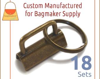 "1-1/4 Inch Deluxe Key Fob Hardware, Antique Brass / Bronze Finish, 18 Sets, 1.25"", Purse Handbag Hardware, Jewelry Supply, KRA-AA009"