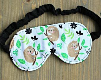 Woman's Sloth Sleep Mask, Sleepmask, Travel Mask, Spa Mask, Gift for Her, Handmade in Canada, Sloths