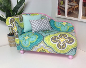 """Chaise Lounge Chair, dollhouse furniture, 1:6 scale, 12"""" dolls, playscale"""