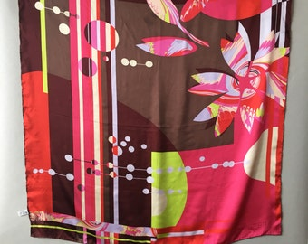 Christian Lacroix Silk Scarf, Abstract Print Scarf, mothers day gift, square silk scarf, jewel tone scarf, gift for her, designer silk scarf