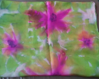 silk scarf handpainted green and pink 180 cm x 45 cm