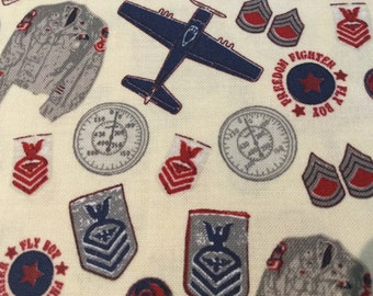 Maverick Planes Quilting Fabric Navy Red Cream