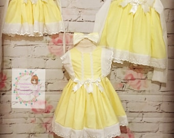 Yellow lemon Spanish girls baby easter dress