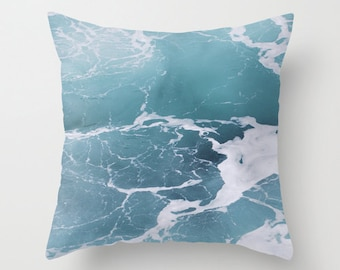 Blue Ocean Pillow, Throw Pillow, Beach Decor