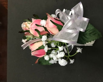Custom Silk Corsage, Pink roses with white Ribbon