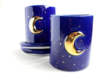 Crescent moon coffee cup & saucer - blue/white/pink marble stardust tumbler -  golden moon ritual set - Jasmin Blanc