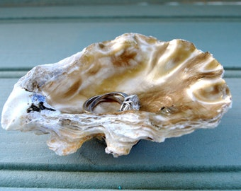 Oyster shell Jewelry holder, Trinket Dish, Ring Holder, Home Decor