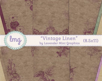 "Vintage Digital Journal Paper - ""Vintage Linen"" - Junk Journal Paper, Vintage Journal Paper, Travelers Notebook, Instant Download, CU"