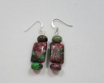 Dogtooth Ruby Zoisite Earrings