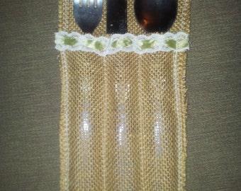 Hessian/Burlap cutlery holders