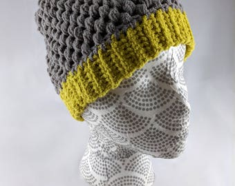 Gray and Green Crocheted Winter Hat, Puff Stitch Winter Beanie, Adult Size Unisex, Gray and Lime Green Slouchy Hat