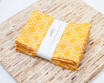 Large Cloth Napkins - Set of 4 - (N1928) - Marigold Tile Modern Reusable Fabric Napkins
