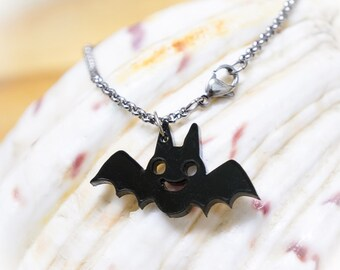Bat Acrylic Necklace. Bat Necklace, Bat Jewellery, Bat Pendant, Acrylic Jewelry, Laser Cut Acrylic, Kawaii Necklace, Kawaii Jewelry