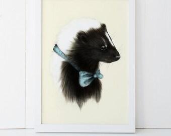 Baby Skunk Print 5x7 Woodland Nursery Print