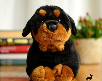Large Rottweiler Stuffed Animal Plush Toy