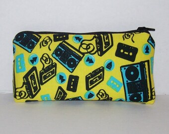 """Pipe Pouch, Stereo & Cassettes, 80s Music, Stoner Gift, Retro, Glass Pipes, Pipe Case, Pipe Bag, Zipper Bag, Smoke Accessory - 5.5"""" SMALL"""