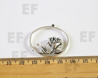 2 Rose Charms Antique Silver Tone Flower Circle