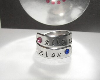 Mothers ring,  personalized jewelry ring, personalized ring, mommy ring, mommy gift, hand stamped jewelry, engraved ring, birthstone ring,