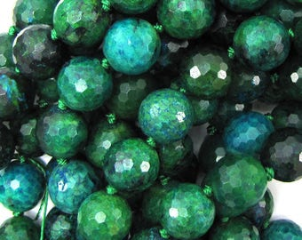 """12mm faceted blue green azurite round beads 12"""" strand 15531"""
