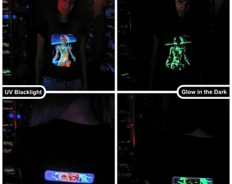 Biomechanoid UV Black Light Fluorescent & Glow In The Dark Phosphorescent Psychedelic Psy Goa Trance Art Club Womens T-shirt