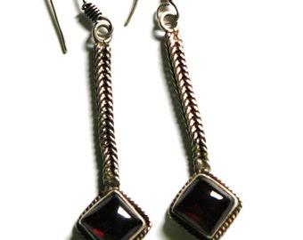 Vintage Sterling Bali Garnet Earrings
