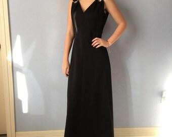 Vintage Dress - Bleeker Street - Black Maxi Dress - 1970s Boho