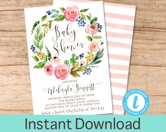 Baby Shower Invitation, Floral Watercolor  Wreath Baby Shower invitation, Watercolor Floral Invitation, Instant Download