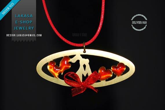 Necklace Red Enamel Hearts Sweet Pareja Sterling Silver Handmade Jewelry Best Gift Idea Valentine's Day Anniversary Woman Love Girlfriend
