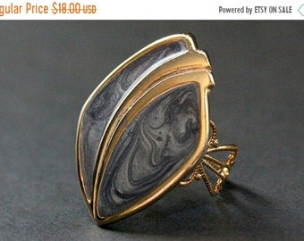 MOTHERS DAY SALE Gray Blue Swirl Cloisonne Ring. Cadet Blue and Gold Ring. Filigree Cocktail Ring. Adjustable Ring.