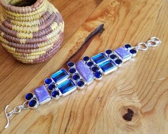 Charoite, Sapphire and Tanzanite Bracelet