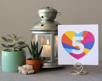 Square Modern Rainbow Table Marker Heart Number Pride