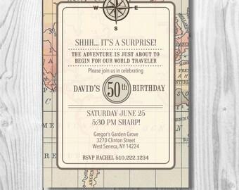 Travel/ Map Themed Birthday Invitation- Digital File/ Retirement Party Invitation/ Bridal Shower Party Invitation/ Baby Sprinkle Invite