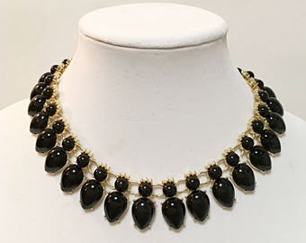 Gold and Black Bib Necklace / Black Beads Necklace.