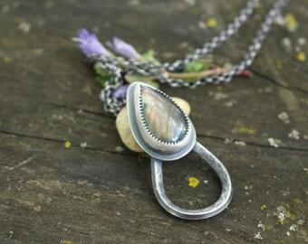 THREE WAY CHARM - Labradorite - Hair Jewelry - Braid Jewelry - Glasses Hanger - Sterling Silver - Handmade - Ready To Ship - Reading Glasses