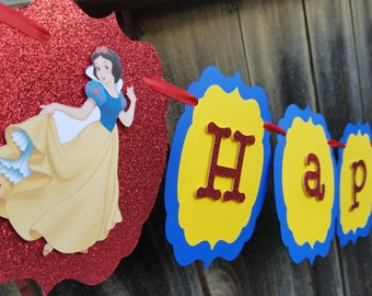 Snow white birthday banner, Snow white birthday, snow white centerpiece, snow white party