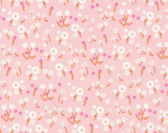 Pink Floral ORGANIC Cotton Fabric Marigold Blossom from Cloud9 Fabrics Stay Gold collection by Aneela Hoey Floral Nursery Baby Blanket Quilt