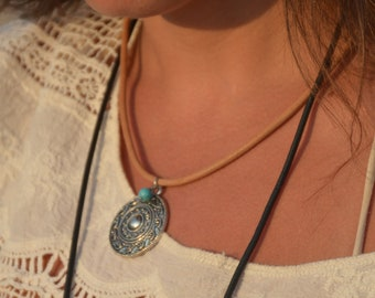 Solar mandala pendant necklace turquoise silver zen on leather cord.