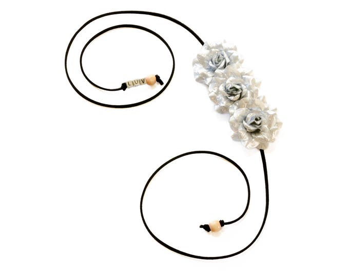Silver Rose Side Flower Crown