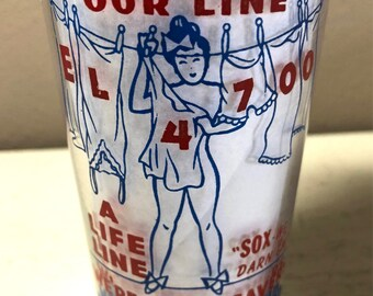 Vintage 1940s New Richmond Laundry Cleaners Advertising Risqué Girlie Graphics Juice Glass