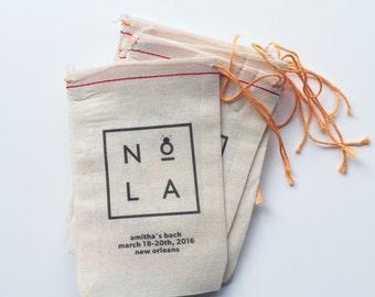 4x6 Mini Muslin Bags for Bachelorette Kits - New Orleans