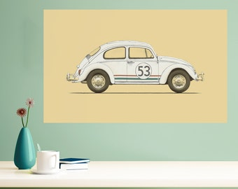 Herbie the Love Bug Wall Sticker Decal by Florent Bodart