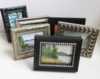 Miniature Painting ACEO Framed Artist Trading Card Landscape Seascape Watercolor Pen Small Paintings Western Avenue Artist Kathleen Daughan