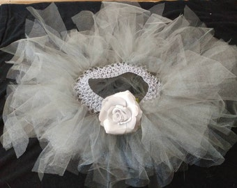 Grey Splendor Flower and Bustle Tutu